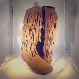 Lauren Conrad Suede Fringe Boots